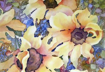 Dancing Sunflowers - Pen & Watercolour - 30cm x 30cm - SOLD
