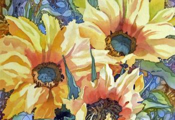Summer Sunflowers - Pen & Watercolour - 35cm x 35cm