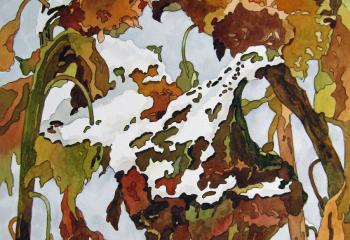 Winter Sunflowers - Pen & Watercolour - 35cm x 25cm